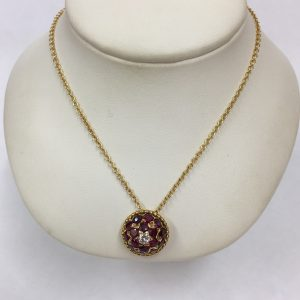 Vintage ruby and diamond pendant