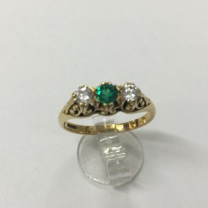 Victorian Emerald & Diamond 3 Stone