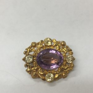 Amethyst and chrysoberyl brooch