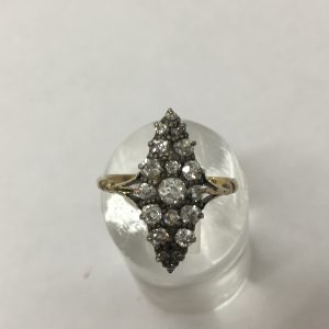 Victorian diamond marquis shape ring