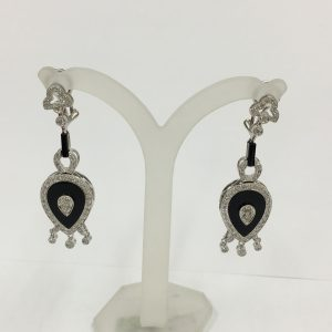 Diamond and Onyx Drop Earrings