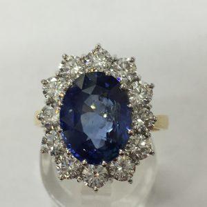 Sapphire & Da Oval Cluster ring
