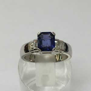 Sapphire and Dia Engagement ring